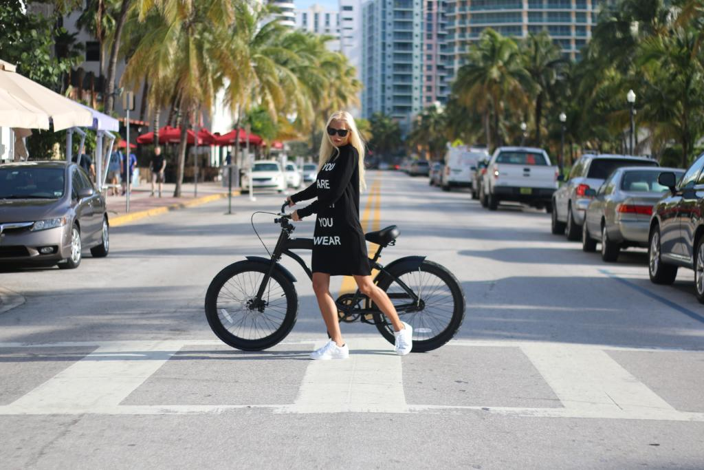 Riding bike in the streets of Miami Beach